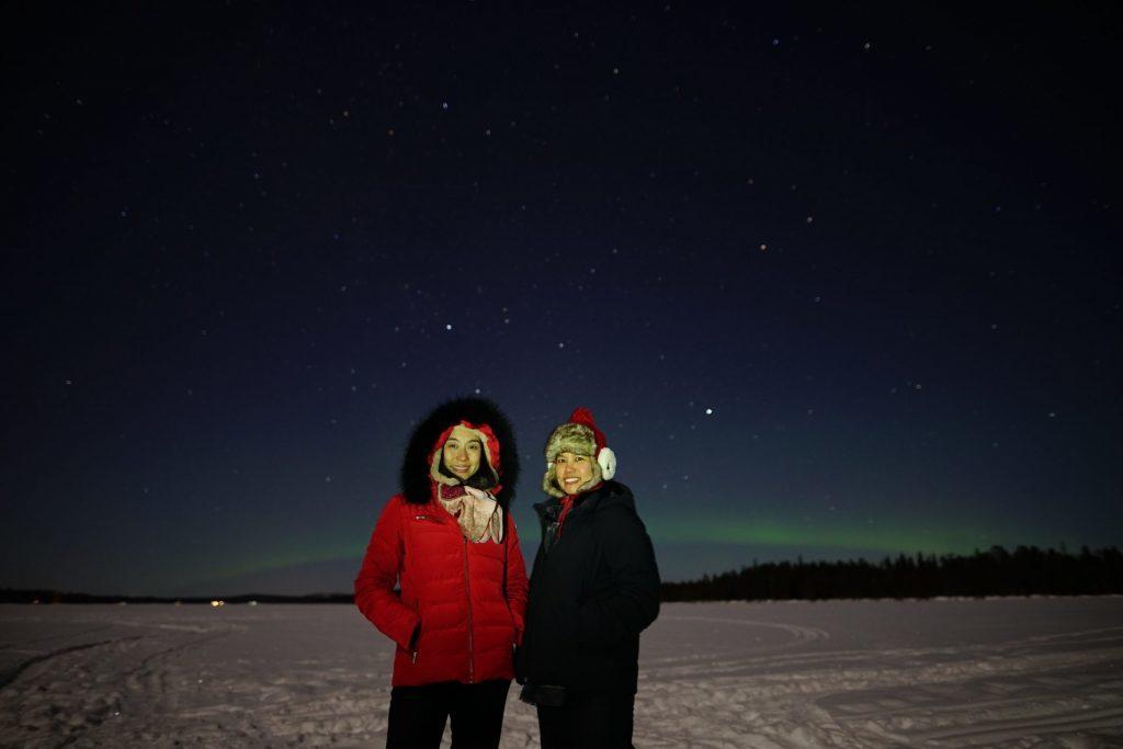 aurora on the background