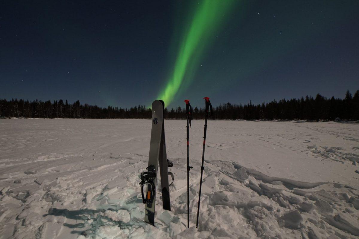 Ski Trekking under the Northern Lights